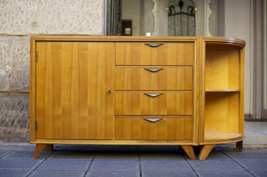 50er jahre sideboard mit eckregal raumwunder vintage wohnen in n rnberg. Black Bedroom Furniture Sets. Home Design Ideas