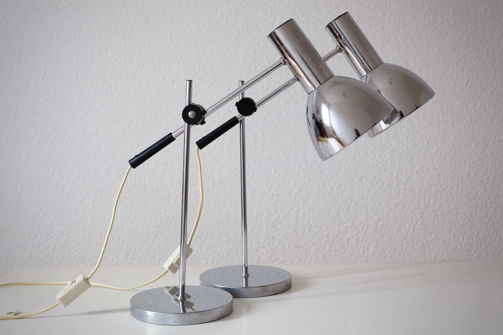 zwei verchromte 60ies tischlampen raumwunder vintage wohnen in n rnberg. Black Bedroom Furniture Sets. Home Design Ideas
