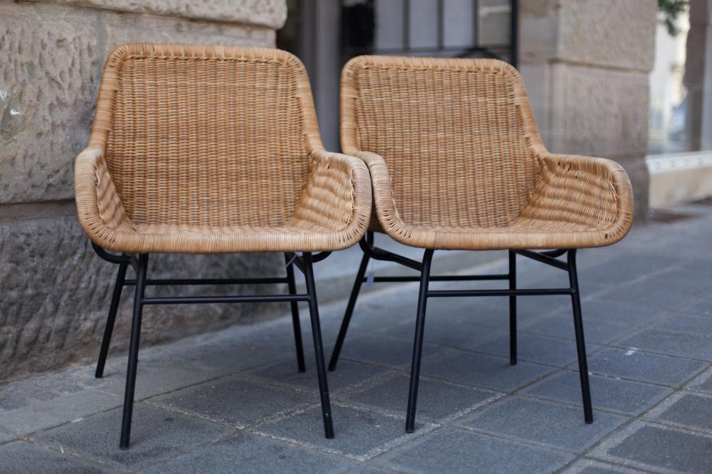 zwei rattanst hle in der art von gianfranco legler raumwunder vintage wohnen in n rnberg. Black Bedroom Furniture Sets. Home Design Ideas