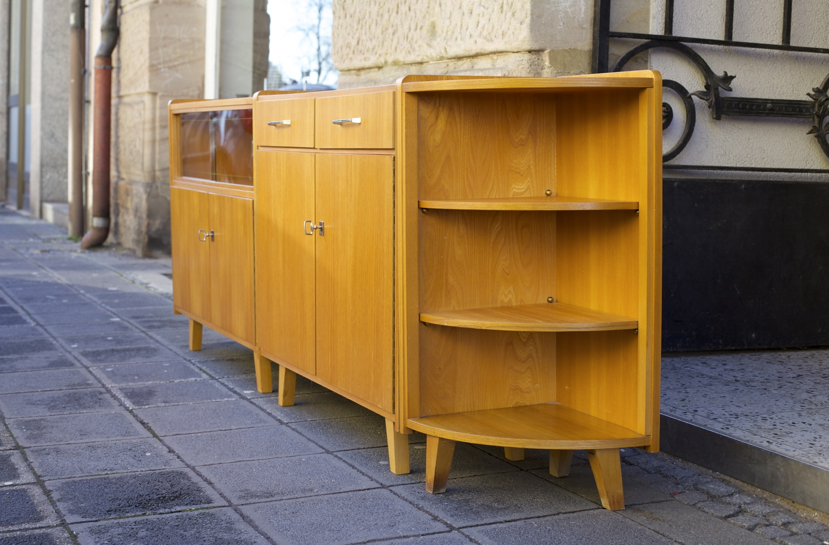 50er jahre sideboards mit eckregal raumwunder vintage wohnen in n rnberg. Black Bedroom Furniture Sets. Home Design Ideas